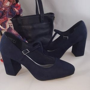 a5e989f3a72 Payless Shoes - Never worn Blue faux suede Mary Jane Heels size 12